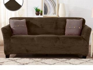 Stretch Sofa Slipcover 1 Piece Sofa Cover for 2 Cushion Couch Furniture Protector Cover Couch with Elastic Bottom Soft and Durable Sofa Cover Pet Protector  loveseat  Walnut Brown