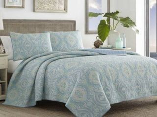 King Size Tommy Bahama Turtle Cove Blue Cotton Quilt