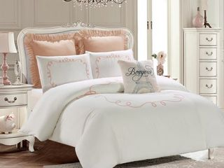 Embroidered Comforter Set   Hotel loop Blush   White Machine Washable   Includes 1 Comforter   2 Shams  1 Pillow  Full