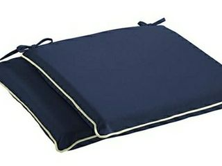 Mozaic Sunbrella AMCS114086 Indoor Outdoor Cushion Corded Chair Pad Set  19 x 17  Navy Blue with Ivory