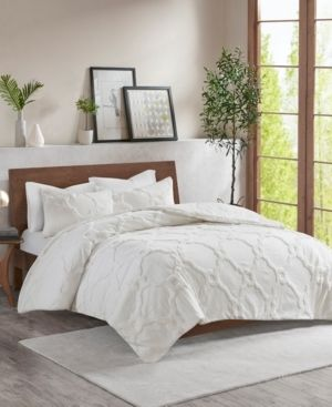 3pc King Cal King leena Cotton Chenille Geometric Comforter Set White