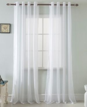 Set of 2 Spyder lace 54 x 90 in  Grommet Single Curtain Panel in White