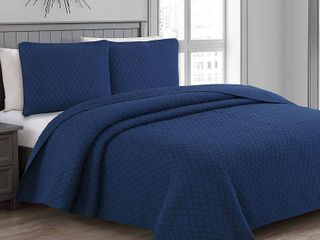 Fenwick Quilt Set  Blue  King Size