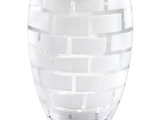 Frosted Wall Design on Mouth Blown European 12  Crystal Vase