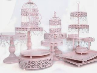 14 PCS Pink Cake Cupcake Stand Display Dessert Holder Wedding Party Crystal