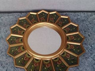 Handmade Green Sunflower Fan Reverse Painted Glass Mirror  Peru    Brown Gold