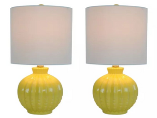 Set of 2 Carson Ribbed Round Table lamps Yellow   Decor Therapy