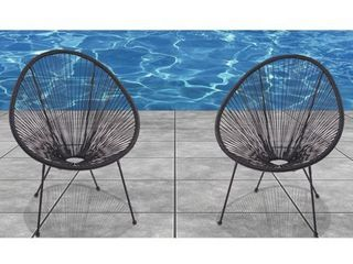 Acapulco Black Resort grade Chairs  Set of 2  Retail 319 99