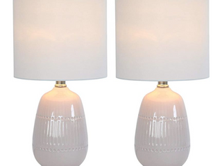 Malachi Two Tone Ceramic Table lamp   Set of 2 Blush   White  Retail 75 48