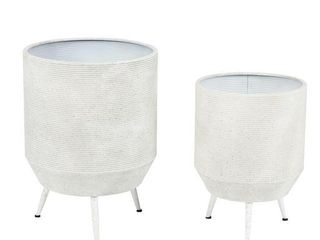 2 Piece White Round Metal Planters