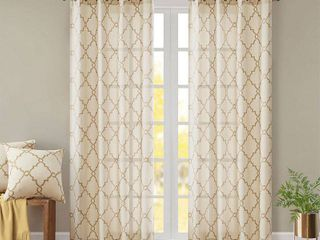 Home Essence Sereno Fretwork Print Window Panel 2piece set