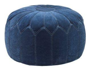 Kelsey Round Pouf Ottoman Blue