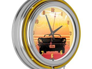 Ford Chrome Double Rung Neon Clock Yellow