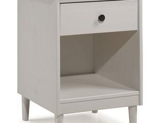 Walker Edison 1 Drawer Solid Wood Nightstand in White
