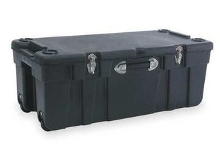 large Mobile Storage Trunk W 17 1 2 Black  Damage   See photos