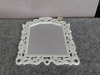 Hand Crafted Wood White Wall Hanging Mirror