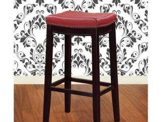 Claridge leather Saddle 26  Counter Stool Red   linon