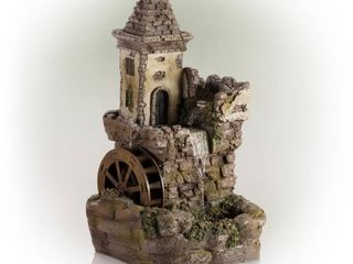 Alpine Corporation Outdoor Fairy Castle Waterwheel Tiered Fountain