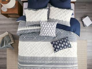 King California King 3pc Mila Cotton Printed Duvet Cover Set with Chenile Navy