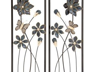 Decmode Set of 2 Natural 28 X 12 Inch Iron Flower and Butterfly Wall Decor  Black