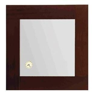 Whitehaus Antonio Miro 23 5 8 Inch Square Mirror with Iroko Wood Frand Built In Clock  Ebony Wood