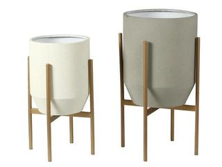 2 Piece Round Gray and White Metal Planters and Gold Stand