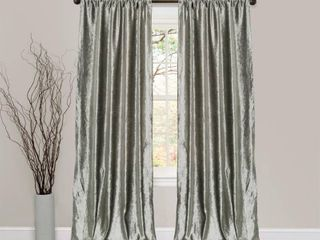 Set of 2 84 x40  Velvet Dream Bells Window Curtain Silver   lush DAccor set of 2