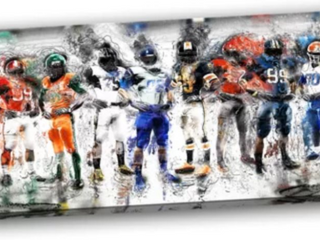 Wayfair design art  football team  on canvas 30 inches high x 48 inches wide x 1 inch deep Outer dimensions  30 inches high x 48 inches wide x 1 inch deep