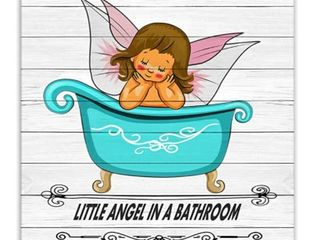 little Angel In A Bathroom Print Wall Decor