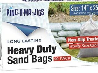 Sandbags  50 Pack  long lasting  Heavy Duty Sandbags with Ties  14  x 25  Non Slip Treated   UV Treated   Empty Sand Bags   for Flooding and Weights for Canopy  Tent  Umbrella Base