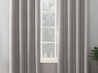 Sun Zero Kenji Woven Scalloped Theater Grade Extreme 100  Total Blackout Grommet Curtain Panel   52 x 84   Dove