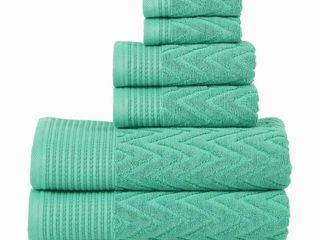 Superior 100 Percent Cotton Chevron 6 Piece Towel Set   Cascade