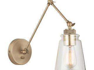 Austin Allen   Co 9D344A Profile   One light Wall Sconce Aged Brass Finish with Clear Glass