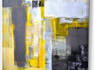 DesignArt Grey and Yellow Blur Abstract Paintin Missing 3 Mounting Screws