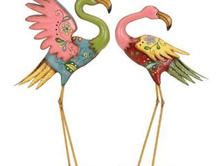 Decmode   Set of Two   28 and 32 Inch Modern Pink Metal Flamingo Sculptures