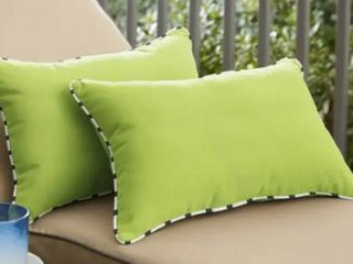 Sunbelt Macaw Green with Blue White Stripe Pillows
