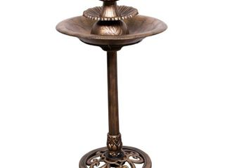 Alpine Corporation 3 Tiered Pedestal Outdoor Water Fountain and Bird Bath  Bronze