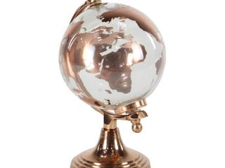 Decmode   Copper Metal and Glass World Globe Table Decor  6  x 11