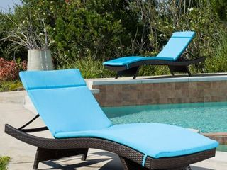 Salem Outdoor Chaise lounge Cushion  Set of 2  by Christopher Knight Home