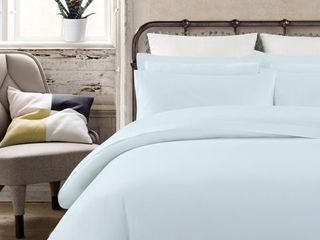 Echelon Home Vintage Washed Cotton Percale Bed Sheet Set Queen