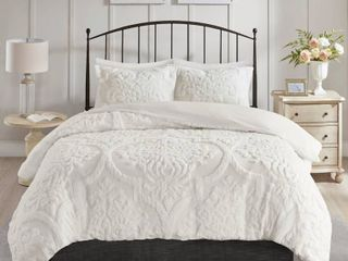 Madison Park Viola Full Queen 3 Piece Tufted Cotton Chenille Damask Duvet Cover Set Bedding