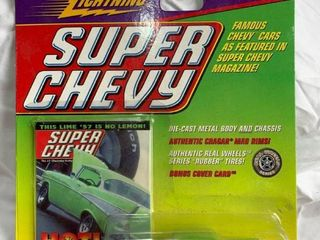 Johnny lightning 57 1957 Bel Air lime Green Super Chevy Magazine Rubber Tires