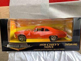 1970 Chevy Nova 1 18 Scale Die Cast Metal American Muscle Orange