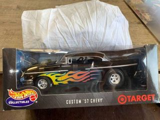 1 18 Hot Wheels Custom 1957 Chevy Target Black With Flames