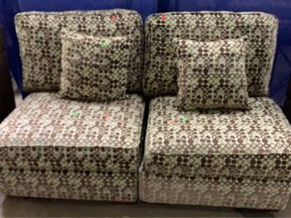 2 Olive And Brown Sectional Pieces 32x37x32