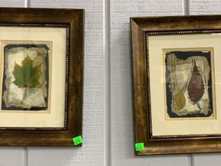 Pair Of Leaf Prints Framed 11x13