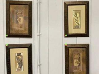 4 Leaf Design Prints Framed 14x20