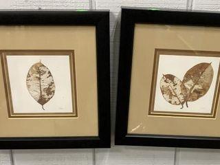 Pair Of Leaf Motif Prints 12x12