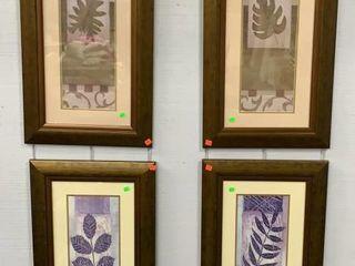 4 Framed Leaf Motif Prints 17.5x29.5