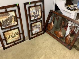 3 Metal Wall Decor, 2 Leaf 16x29, Vases 29x20x3